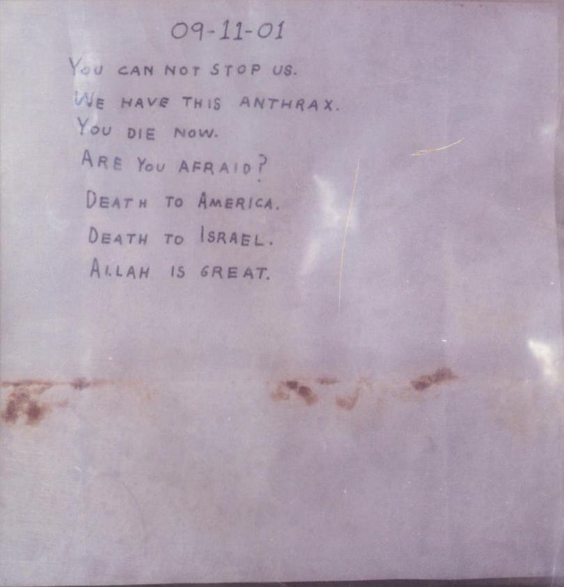 Conteúdo da carta de antraz ao senador Daschle