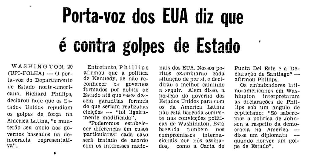 Recorte da Folha 21/04/1964
